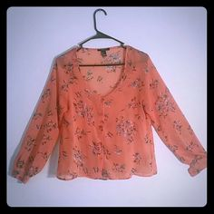 Flowy Floral Sprint Blouse Sheer salmon colored button down blouse. Size small purchased at Forever 21. Forever 21 Tops Blouses