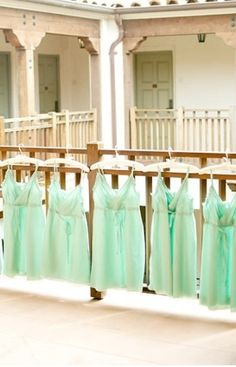 Mint bridesmaid dresses.
