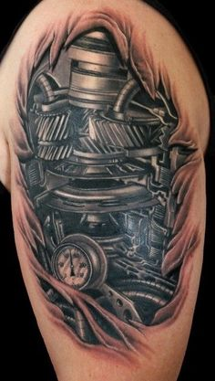 7 Stunden Arbeit - Stuff to Buy - Tattoos Biomech Tattoo, Piston Tattoo, Hammer Tattoo, Gear Tattoo, Bild Tattoos, Hot Tattoos, Body Art Tattoos, Sleeve Tattoos, Tattoos For Guys