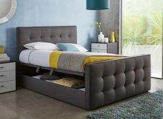NEW! Cavill Grey Fabric Ottoman Bed Frame