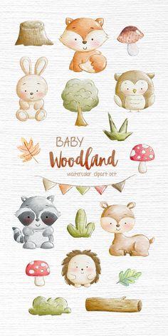 Woodland Illustration, Cute Animal Illustration, Watercolor Illustration, Squirrel Illustration, Animal Illustrations, Forest Nursery, Nursery Art, Elephant Nursery, Watercolor Images