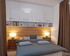 Hängeschrank schlafzimmer  grifflose matt weiß lackierte Hängeschränke über Bett ...