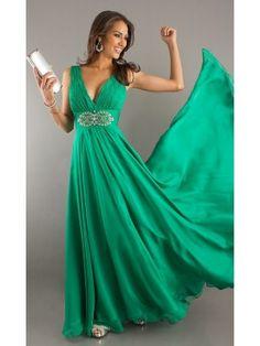 Verde Oscuro A-line/Princess Straps Sin Mangas Gasa Floor-length Volantes Dresses por €579,02