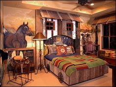 Cowboys Cowgirls Theme Bedrooms Decorating Rustic Western Style