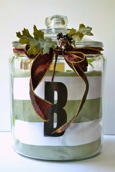 Housewarming Gift~ Lemon Verbena Scented All Purpose Cleaner, Foaming Hand Soap, Dish Soap, Counter Top Spray, Striped Towel, Monogram, Live Greenery= Peppermint in a Beautifully Wrapped Jar!!!