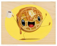 Good Morning Waffle by Cuddly Rigor Mortis Do You Like Waffles, Rigor Mortis, Character Art, Character Design, Happy Foods, Animation, Food Illustrations, Cute Illustration, Wood Print