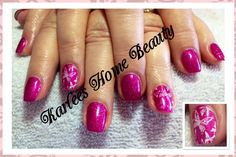Acrylic nails with @Chad Prevost Color - Wild rose and Kiss goodbye with butterfly stamping for my lovely client @Tracey Brinkworth .  Really nice combination.