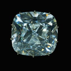 The Regent Diamond - The stone weighed 426 carats prior to cutting. The finished diamond is fashioned into a 140.50-carat cushion-shaped brilliant cut, measuring approximately 32mm x 34mm x 25mm. The regent has but one very small imperfection and is today still considered the finest and most brilliant of the known large diamonds. Link to the history of this famous Gem.