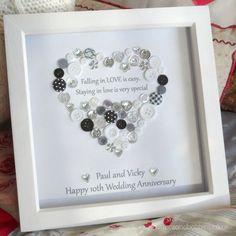 Personalised Heart Anniversary / Engagement Button Print - LOVE is special Picture Gift Framed by ButtonsandBobbinsUK on Etsy Pearl Anniversary, Wedding Anniversary Gifts, Anniversary Cards, Anniversary Frames, Anniversary Ideas, Diy Wedding Presents, Wedding Gifts, Button Art, Button Crafts