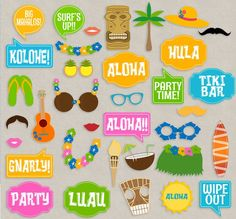 35 Luau Party Theme, Hawaii Photo Booth Props