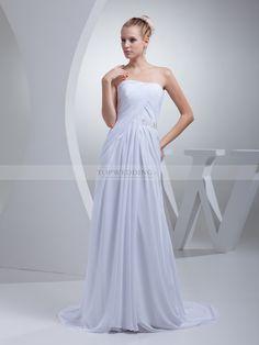 Nadirah - robe de mariée a-ligne col droit en mousseline polyester avec perlage