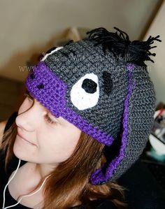 Simple Stitches by Rachelle Eeyore crochet hat Cammarota Smith Easy Crochet Hat, Crochet Beanie, Crochet Baby, Knit Crochet, Crocheted Hats, Crochet Disney, Love Hat, Hats Online, Eeyore