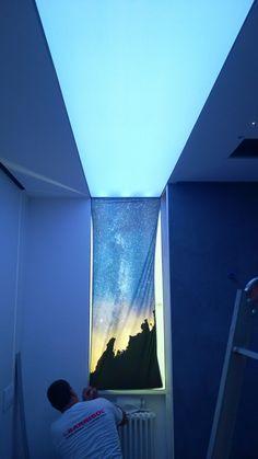 nostra installazione Barrisol Lumiere stampato e retroilluminato su appartamento privato