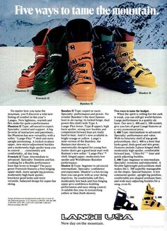 SKIING Dec 1976 - Lange - pugski Ski Boots, Hiking Boots, Ski Equipment, Ski Gear, Alpine Skiing, Vintage Ski, Ski And Snowboard, High Level, Aspen