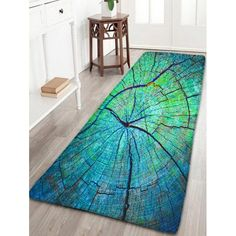 $21.22 Cracked Wood Pattern Flannel Antiskid Rug - Green - W24 Inch * L71 Inch