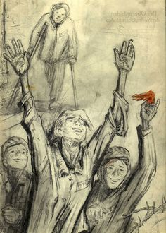 "Zinovii Tolkatchev. ""The Liberators Have Arrived"". Auschwitz, 1945. Pencil and watercolor on paper. 29.7 x 21 cm. Gift of Anel Tolkatcheva and Ilya Tolkatchev, Kiev. Collection of the Art Museum, Yad Vashem"