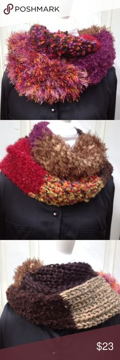Amazing Changeable Infinity Scarf This adorable infinity scarf is a chameleon with a seemingly infinite number of looks. Turn it one way and you see red wooly fabric flecked with metallic gold; turn it another way and you see fuzzy orange mixed with cream. There are many other looks as well: leopard, purple, cream with metallic silver, etc. You will have more fun deciding which way to wear this scarf and which colors you feel like accenting. This scarf will go with most of your Fall and…