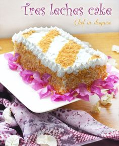 Tres leches cake or three milk cake. Super moist, decadent and dimply irresistible