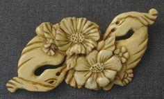BIRDS OF PARADISE & FLOWERS CELLULOID BROOCH CLIP