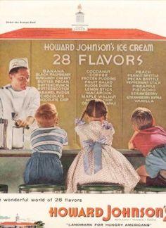 Howard Johnson Hojo 28 Flavors Ice Cream Bar Kids Art Vintage Ad 1955