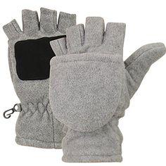 Women's Fleece Fingerless Gloves / Convertible Mittens - Gray Large - http://todays-shopping.xyz/2016/07/01/womens-fleece-fingerless-gloves-convertible-mittens-gray-large/