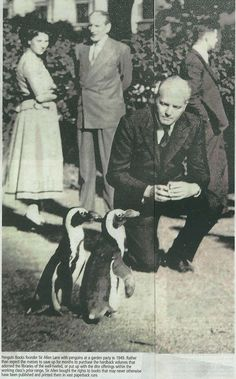 Sir Allen Lane, founder of Penguin Books, with penguins at a garden party in 1949