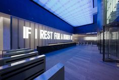 Artist Jenny Holzer was on the vanguard of using LED technology to broadcast words and ideas in public spaces. This 2006 project was for 7 World Trade Center. 7 World Trade Center, Trade Centre, Office Building Lobby, Office Lobby, Landscape Architecture Section, Concrete Forms, Technology Design, Led Technology, Public Realm