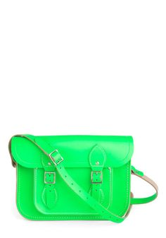 "Upwardly Mobile Satchel in Neon Green - 11"", #ModCloth"
