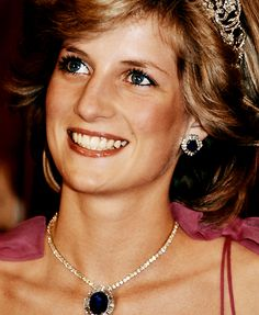 Diana received this suite of sapphire jewelry with Burmese sapphires surrounded by diamonds in a sunray design from the Crown Prince of Saudi Arabia, as wedding gift.