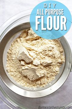 This DIY to make your own all-purpose flour is so cool! You don't need an expensive grain mill to make it and it works for any grain. You can even make your own gluten-free all-purpose flour! Great easy recipe and simple tutorial to save money - you won't have to make last-minute trips to the store! :: DontWastetheCrumbs.com