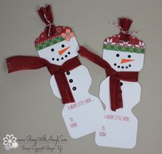 Stampin' Up! Envelope Punch Board Snowman Tags