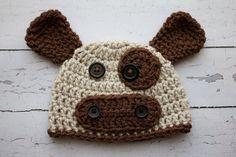 Crochet Newborn baby boy hat Cow hat photography by Stephyscrochet, $20.00