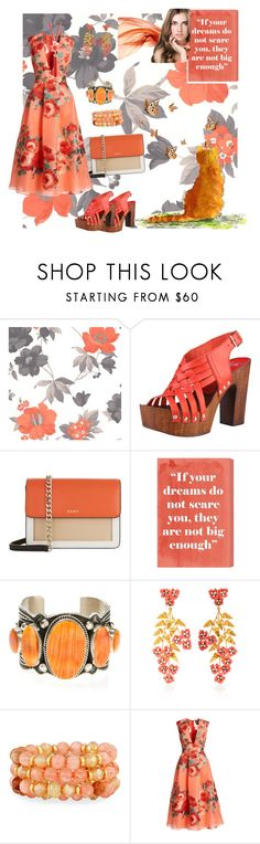 """Orange Taffy"" by sherrysrosecottage-1 ❤ liked on Polyvore featuring Graham & Brown, DKNY, Oliver Gal Artist Co., Harpo, Jennifer Behr, Lydell NYC, Lela Rose and Kate Spade"