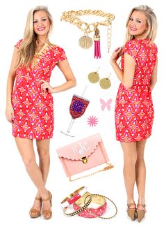 #PrettyInPink - Check out Mondaydress.com and get this dress and bangle set before they sell out! - Get the rest of the accessories from marleylilly.com - #ootd #pink #bangle #wine #clutch #monogram #preppy