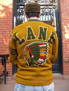 The back of the Lane Tech letterman sweater from 1942.  So sweet.