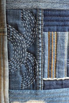 New Class: Denim Boro Bag - Just Jude Designs - Quilting, Patchwork & Sewing patterns and classes Sashiko Embroidery, Japanese Embroidery, Simple Embroidery, Hand Embroidery, Embroidery Designs, Japanese Quilts, Japanese Textiles, Japanese Patchwork, Sewing Patterns