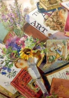 Antique Books, painting by artist Kay Smith