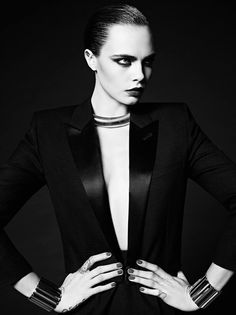 Cara Delevingne by Hedi Slimane for Saint Laurent Paris Couture Fall Winter 2016