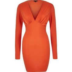 River Island Orange plunge neck bodycon mini dress ($52) ❤ liked on Polyvore featuring dresses, yellow, yellow cocktail dress, red bodycon dress, long sleeve cocktail dress, short red dress and red mini dress