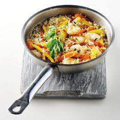 Γαριδοπίλαφο με πολύχρωμα λαχανικά από την Αργυρώ Μπαρμπαρίγου Curry, Ethnic Recipes, Food, Gourmet, Curries, Essen, Meals, Yemek, Eten