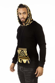 This stylish Hoodie in African print is from our new collection. Black color with african print. African Attire, African Wear, African Dress, African Tops, African Shirts, African Print Fashion, Africa Fashion, Style Africain, African Accessories
