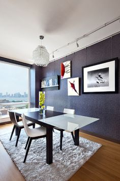 shag rug under kitchen table.  West Chelsea - modern - Dining Room - New York - Noha Hassan Designs