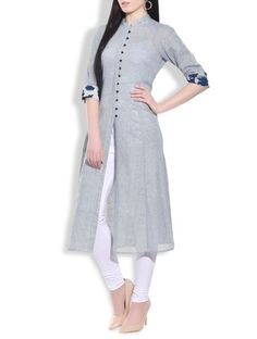 Buy Stone Blue Flared Lung Jute Kurta by Aavidi - Online shopping for Kurtas in India | 9772869