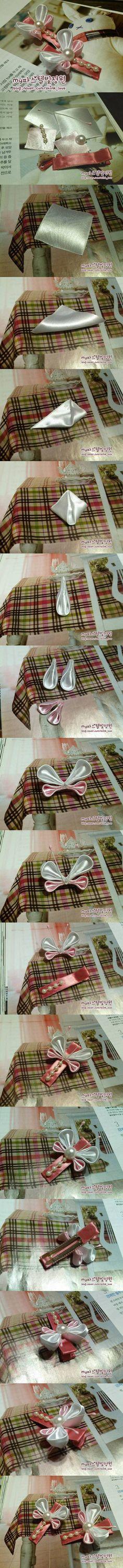 DIY Ribbon Butterfly Hair Clip