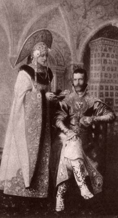 Ball at the Winter Palace Grand Duke Serge Alexandrovich and his wife Ella of Hesse Darmstadt und bei Rhein, eldest sister of the Empress and Grand Duchess Elizaveta Fyodorovna of Russia. Grand Prince, Alexandra Feodorovna, Grand Duc, Hesse, Princess Alice, Princess Elizabeth, Court Dresses, Winter Palace, Russian Folk