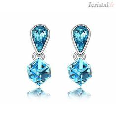 Boucle d'oreille par SWAROVSKI ELEMENTS bleu métal plaqué or blanc