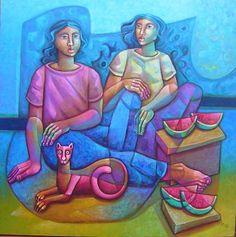 ADÉLIO SARRO - Tortura do tempo, ost, 130x130cm, assinado. Obra do projeto Pensamentos. O desenho está reproduzido no livro desta série.
