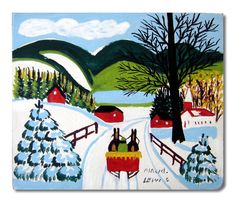 Maud Lewis Original Oil Painting of Sleigh Ride Down a Snowy Country Road Museum Art Gallery, Art Museum, Maudie Lewis, Black Sheep, Nova Scotia, Rug Hooking, Artist At Work, Blue Bird, Folk Art