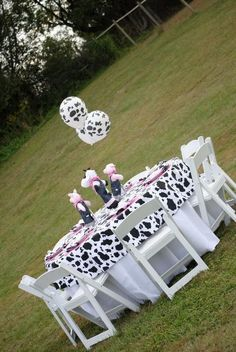 """pink """"barnyard"""" birthday party theme but use blue instead Cow Birthday Parties, Cowgirl Birthday, Cowgirl Party, Farm Birthday, Birthday Ideas, Horse Party, Barnyard Party, Farm Party, Cow Baby Showers"""