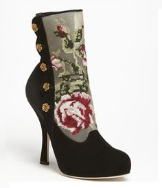 Dolce Gabbana Tapestry Suede Bootie-not fond of the skinny heel but I love the rest!
